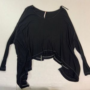 Free People Black Long Sleeve BOHO Blouse Top S